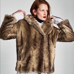 Zara faux fur coat with hood